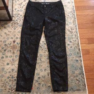 WHBM Black Foil Print Skinny Fit Cotton Pants
